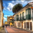A street in downtown Bogota in the La Candelaria neighborhood. This is calle 10